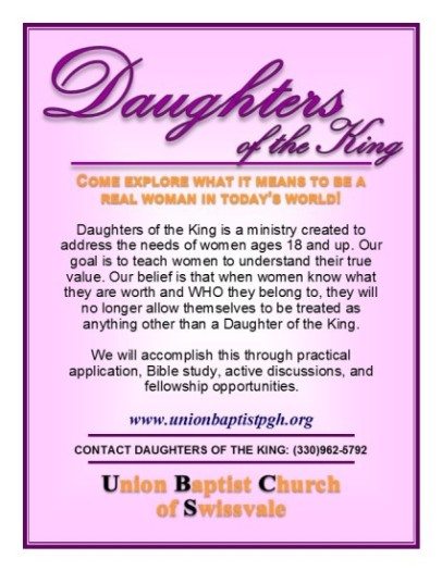 Daughters of the King Dual Sided Postcard revised 07-03-2014